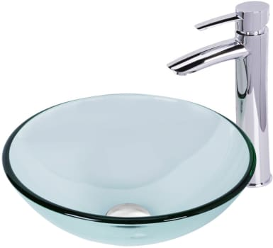 Vigo Industries Vessel Sink Collection VGT892 - Crystalline Glass Vessel Sink and Shadow Vessel Faucet Set in Chrome