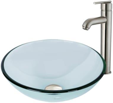 Vigo Industries Vessel Sink Collection VGT893 - Crystalline Glass Vessel Sink and Seville Vessel Faucet Set in Brushed Nickel
