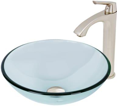 Vigo Industries Vessel Sink Collection VGT895 - Crystalline Glass Vessel Sink and Linus Vessel Faucet Set in Brushed Nickel