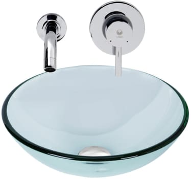 Vigo Industries Vessel Sink Collection VGT898 - Crystalline Glass Vessel Sink and Olus Wall Mount Faucet Set in Chrome