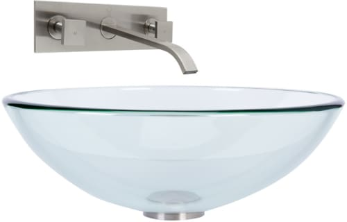Vigo Industries Vessel Sink Collection VGT899 - Crystalline Glass Vessel Sink and Titus Wall Mount Faucet Set in Brushed Nickel