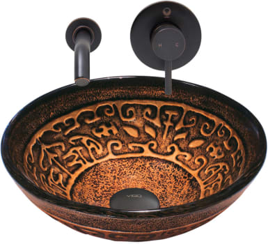 Vigo Industries Vessel Sink Collection VGT904 - Golden Greek Glass Vessel Sink and Olus Wall Mount Faucet Set in Antique Rubbed Bronze Finish
