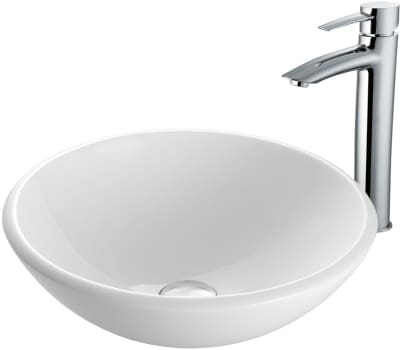 Vigo Industries Vessel Sink Collection VGT906 - White Phoenix Stone Glass Vessel Sink and Shadow Faucet Set in Chrome