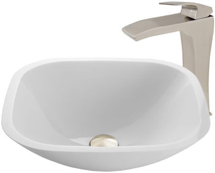 Vigo Industries Vessel Sink Collection VGT907 - Square Shaped White Phoenix Stone Glass Vessel Sink and Blackstonian Faucet Set in Brushed Nickel Finish