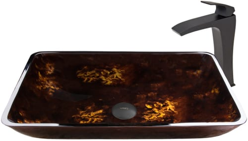 Vigo Industries Vessel Sink Collection VGT910 - Rectangular Brown and Gold Fusion Glass Vessel Sink and Blackstonian Faucet Set in Matte Black