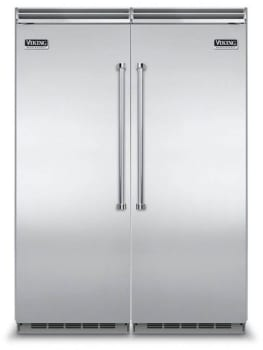 Viking Virefr2 Side By Side Column Refrigerator Freezer Set With 30 Inch Refrigerator And 30 Inch Freezer In Stainless Steel