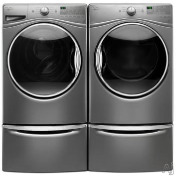 Superieur Whirlpool WPWADREC685 Side By Side On Storage Drawer Pedestal Washer U0026 Dryer  Set With Front Load Washer And Electric Dryer In Chrome Shadow
