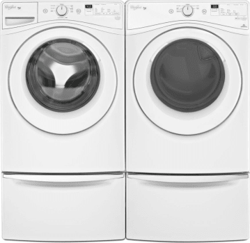 Whirlpool WPWADREW675 Side By Side On Storage Drawer Pedestal Washer U0026 Dryer  Set With Front Load Washer And Electric Dryer In White