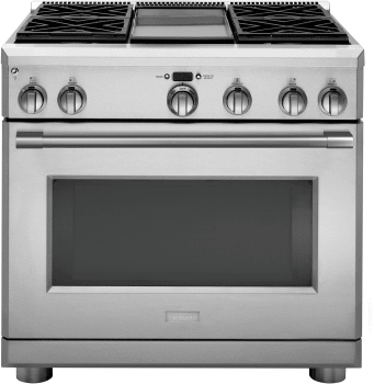 """Monogram ZDP364NDNSS - Monogram 36"""" Dual-Fuel Professional Range with 4 Burners and Griddle (Natural Gas)"""