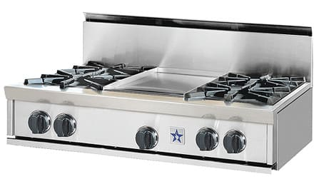 "BlueStar RGTNB364CBSS - View of 36"" Rangetop with 4 Open Burners and 12"" Griddle"