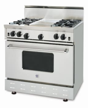 BlueStar RNB Series RNB36 - View of 36 Inch RNB 4 Burners and 12 Inch Griddle Center