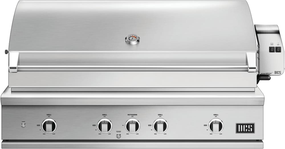 Dcs Be148rcn 48 Inch Built In Grill With Infrared Rotisserie Charcoal Smoker Tray Extra Cooking Area Easy Lift Hood Intuitive Lighting And Rack Tool Storage Natural Gas