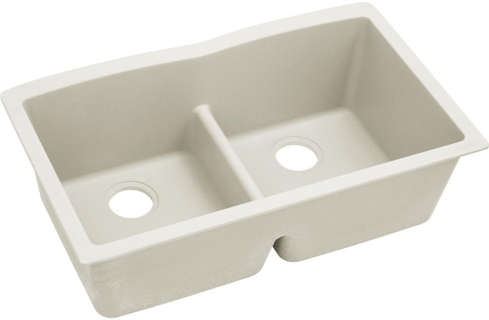 Elkay Elxdulb3322rt0 33 Inch Quartz Luxe Double Bowl Undermount Kitchen Sink With Aqua Divide Superior Strength And Sound Guard Material Ricotta
