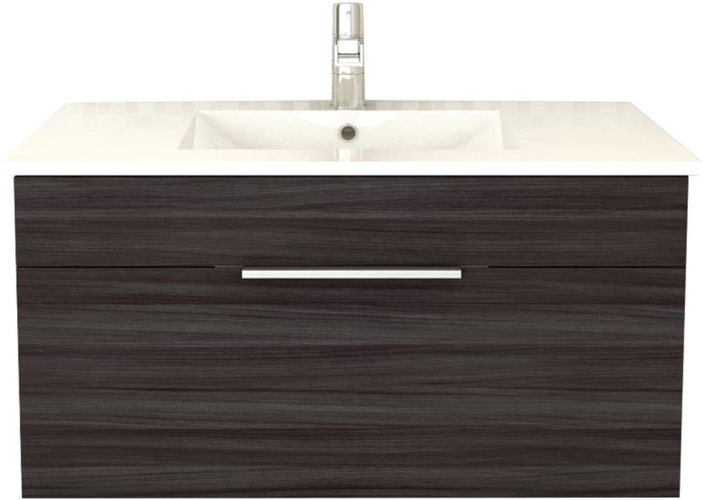 Cutler Kitchen Bath Fvsb36 36 Inch Wall Hung Vanity With Deep Functional Drawer Acrylic Top W Overflow Decorative Brushed Chrome Pull And European Soft Closing Hardware
