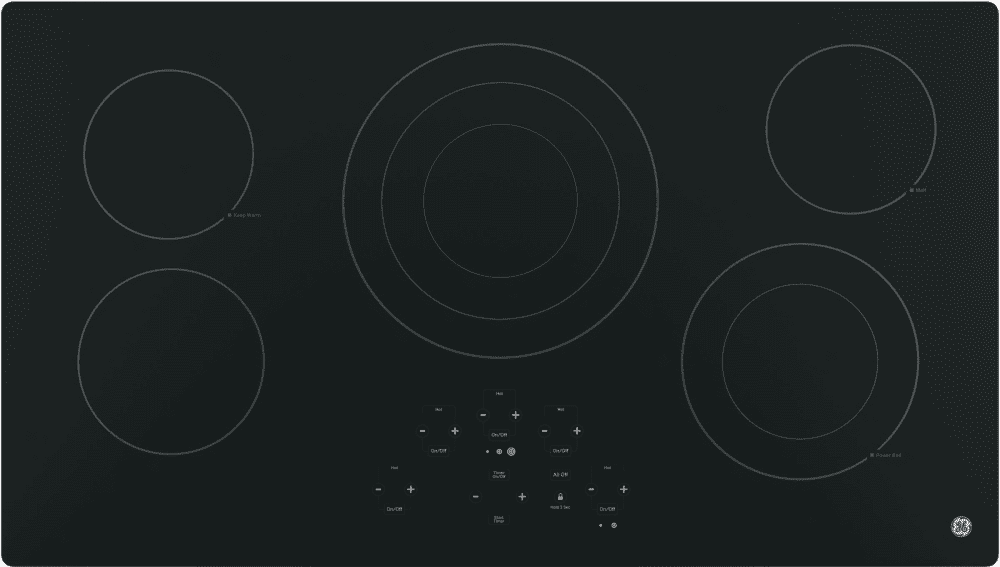 Keep Warm ADA Compliant Fits Guarantee Center Tri-Ring Burner GE JP5036DJBB 36 Inch Smoothtop Electric Cooktop with 5 Radiant Elements Digital Touch Controls Built-in Kitchen Timer Melt Setting
