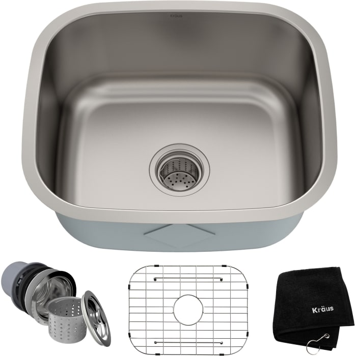 Kraus Kbu11 20 Inch Undermount Single Bowl Kitchen Sink With 16 Gauge Stainless Steel Construction Scratch Resistant Finish Stainless Steel Basket Strainer And Bottom Grid