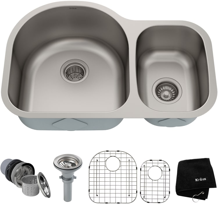 Kraus Kbu21 30 Inch Undermount 60 40 Double Bowl Kitchen Sink With 16 Gauge Stainless Steel Construction Scratch Resistant Finish Rear Set Drains Stainless Steel Basket Strainer And Bottom Grids
