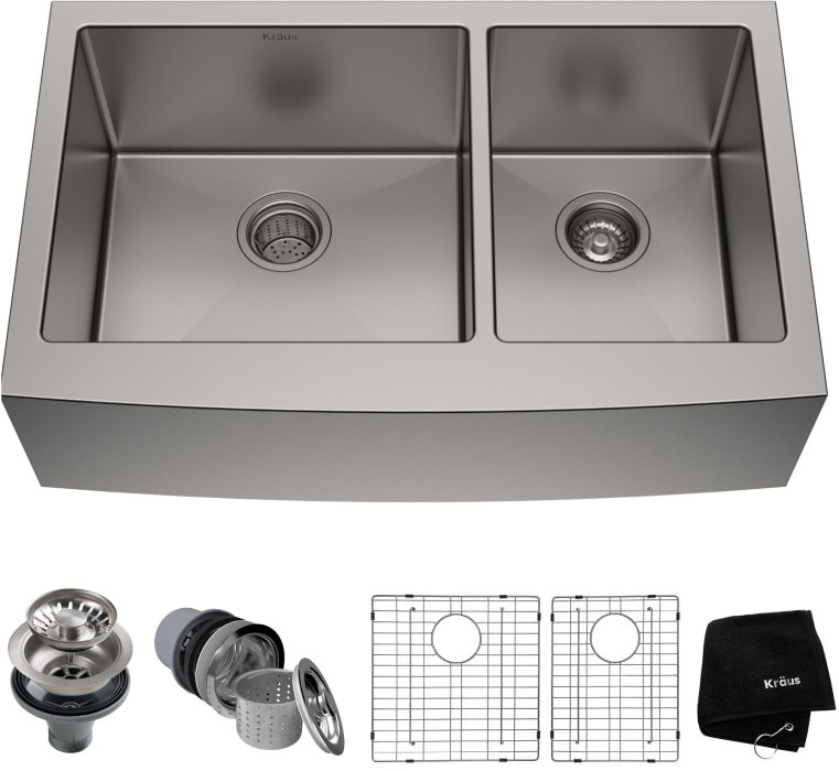 Kraus Khf20336 36 Inch Farmhouse 60 40 Double Bowl Kitchen Sink With 16 Gauge Stainless Steel Noise Defend And Accessory Kit Included