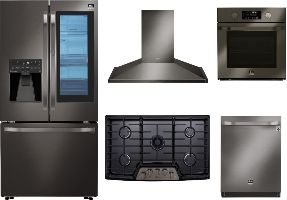 Lg Lgstudrecohowodw001 5 Piece Kitchen Appliances Package With French Door Refrigerator And Dishwasher In Black Stainless Steel