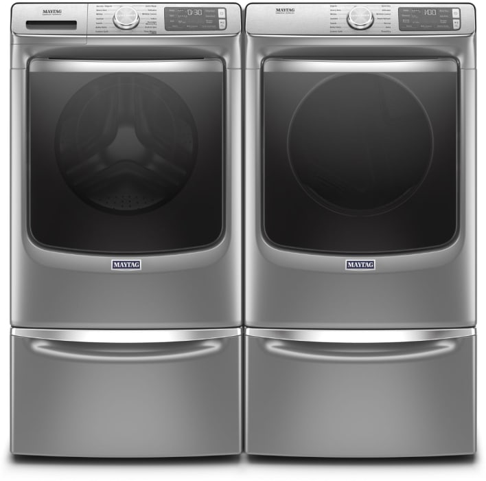 Maytag Mawadrec86302 Side By Side On Pedestals Washer Dryer Set With Front Load Washer And Electric Dryer In Metallic Slate