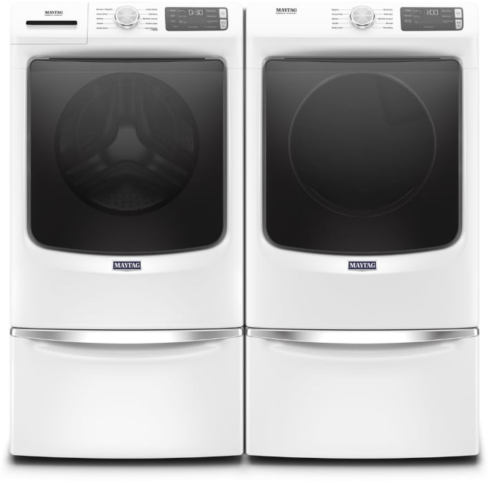 Maytag Mawadrgw56302 Side By Side On Pedestals Washer Dryer Set With Front Load Washer And Gas Dryer In White