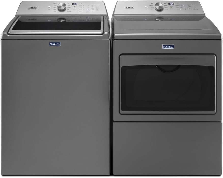 Maytag Mawadrec1 Side By Side Washer Dryer Set With Top Load Washer And Electric Dryer In Metallic Slate