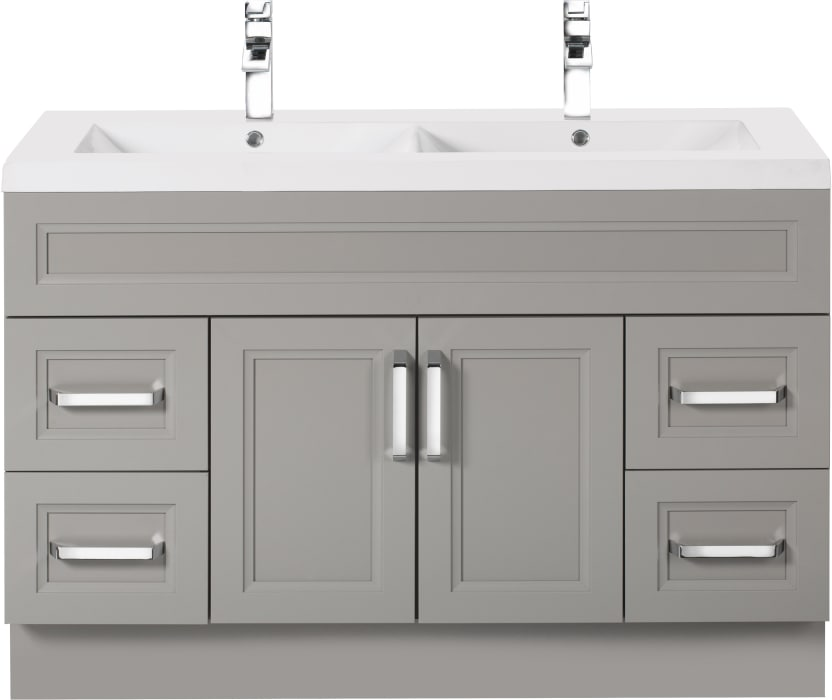 Cutler Kitchen Bath Urbdb48dbt 48 Inch Double Bowl Vanity With Acrylic Top With Overflow European Hardware 2 Soft Close Doors 4 Soft Close Drawers And Chrome Handles Included
