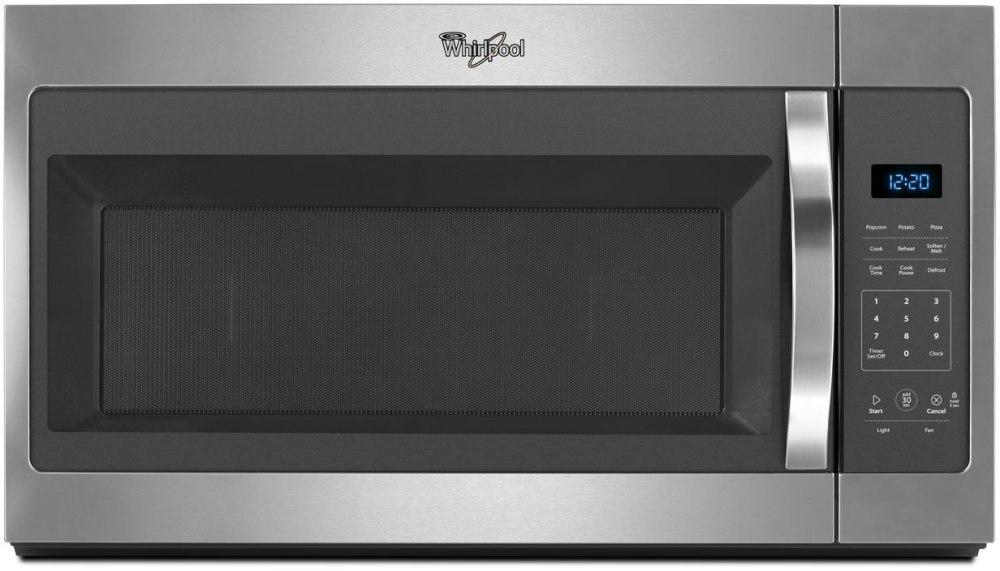Whirlpool Wmh31017fs 1 7 Cu Ft Over The Range Microwave Oven With Microwave Presets 2 Speeds Electronic Touch Controls 1 7 Cu Ft Capacity 1000 Watts 300 Cfm Vent Fan Dishwasher Safe Turntable Plate And Adjustable