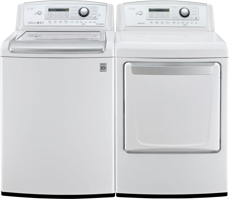 Lg Lgwadrew31 Side By Side Washer Dryer Set With Top Load Washer And Electric Dryer In White