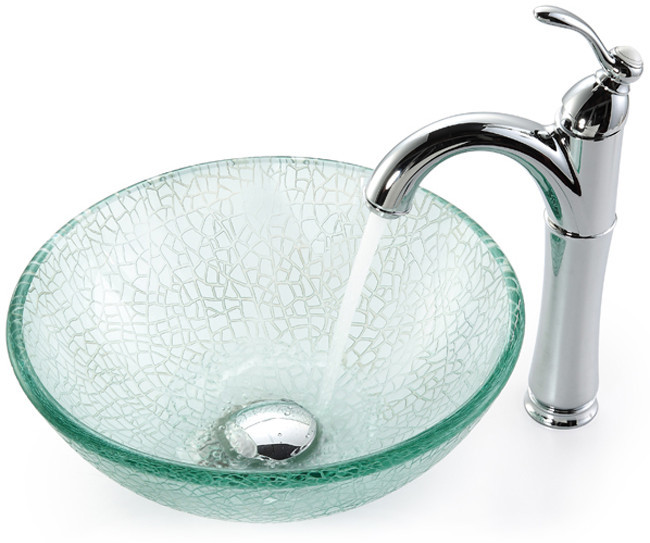 14 Inch Broken Glass Vessel Sink with Riviera Faucet, 5 1/2 Inch ...