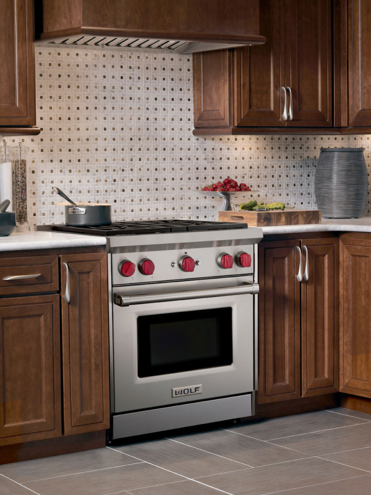 White Kitchen With Stove In Island