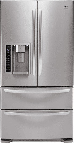 Lg lmx25981st 24 7 cu ft french door refrigerator with 4 for Split french doors
