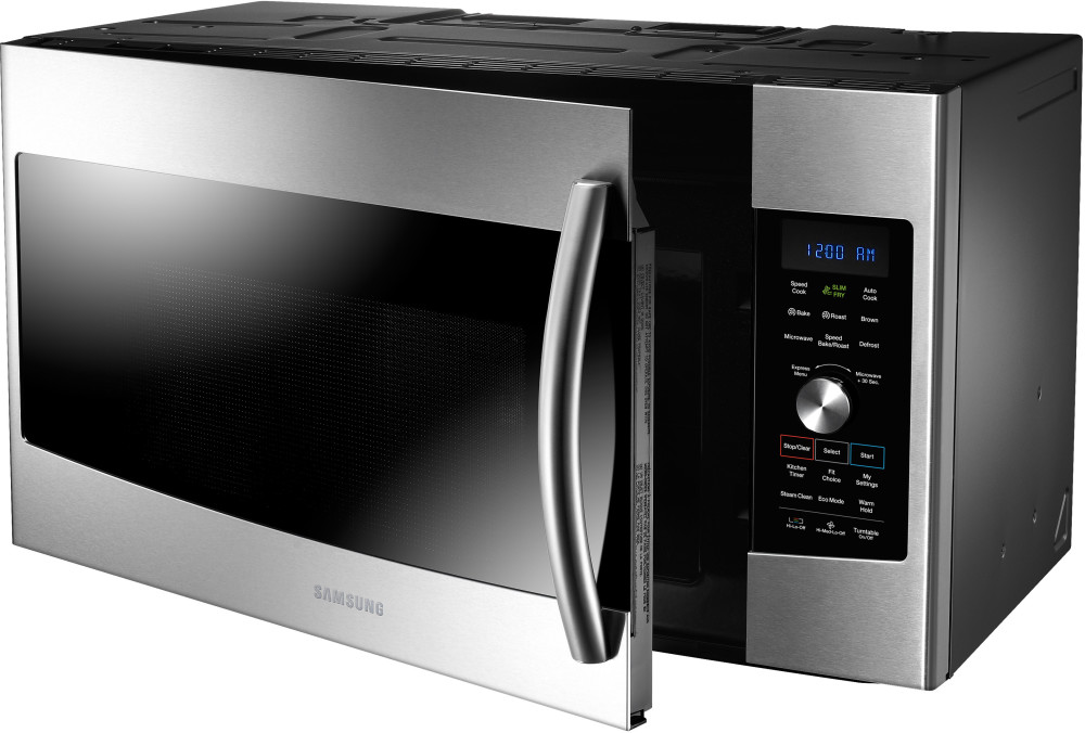Samsung Mc17f808kdt 1 7 Cu Ft Over The Range Microwave Oven With 1 750 Watts 3 Speed 300 Cfm