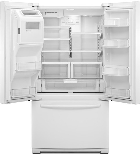 Maytag Mft2673bew 26 1 Cu Ft French Door Refrigerator With 4 Spill Catcher Glass Shelves Led