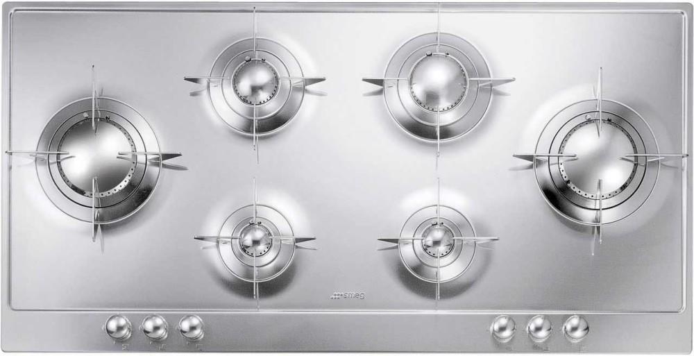smeg pu106 39 inch gas cooktop with 6 sealed burners 2 ultra rapid burners safety valves and. Black Bedroom Furniture Sets. Home Design Ideas