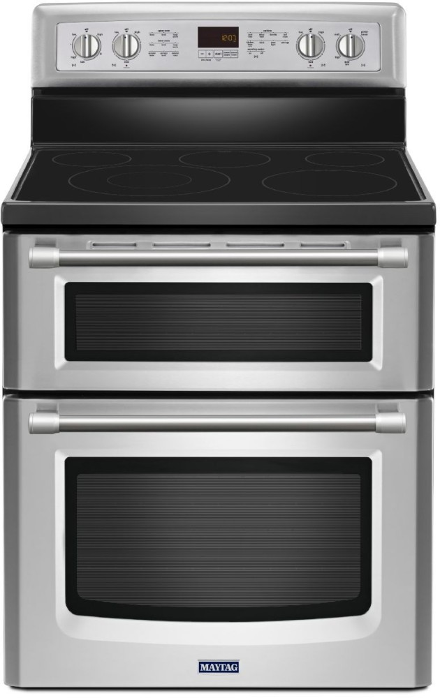 Maytag met8720ds 30 inch freestanding smoothtop electric double oven range with 5 radiant - Maytag electric double oven range ...