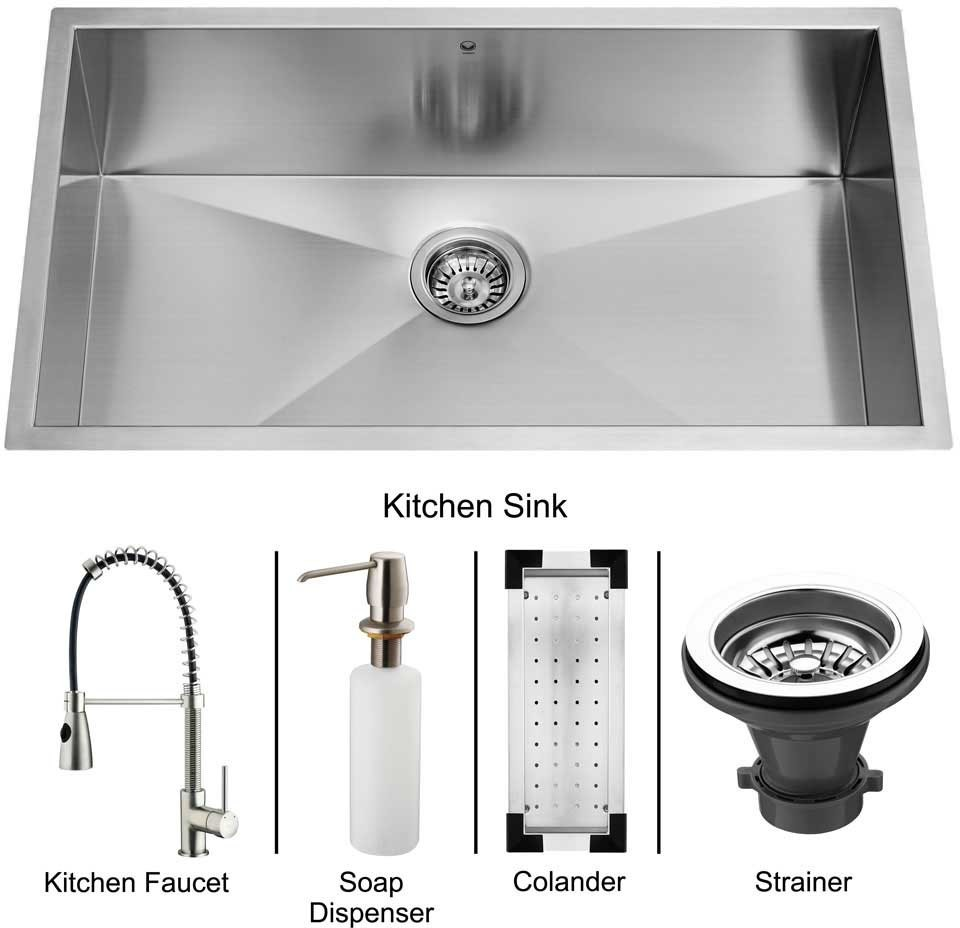 Stainless Steel Sink Counter Combo : VG15009 32 Inch Undermount Single Bowl Stainless Steel Sink Combo ...