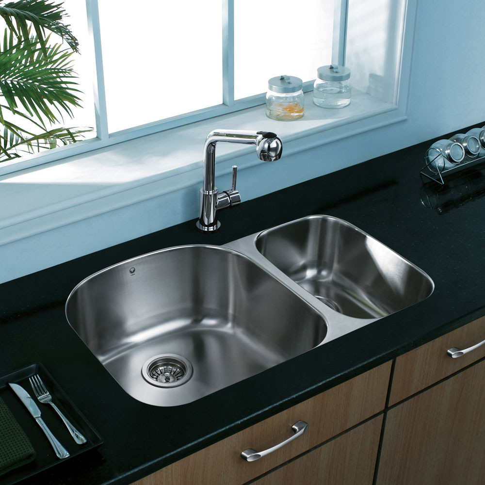 Vigo industries vg3121l 32 inch undermount double bowl for Colored stainless steel sinks