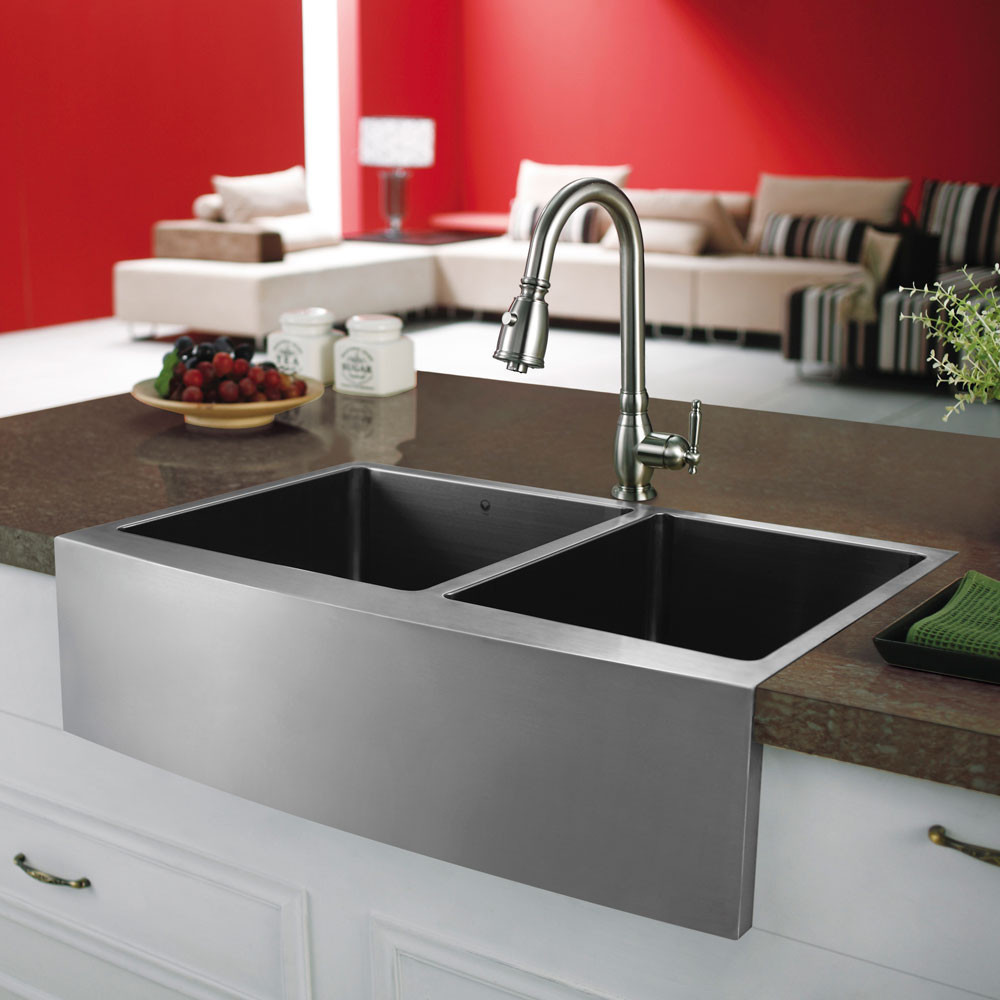 Vigo industries vgr3320bl 33 inch double bowl stainless Stainless steel farmhouse sink