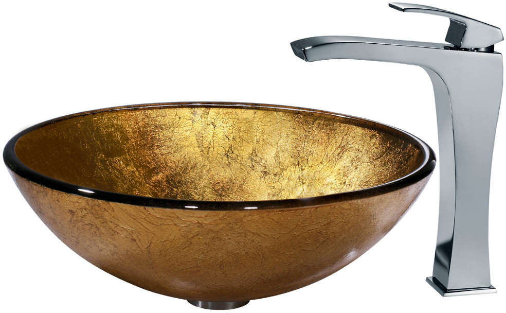 Gold Sink Bowl : Industries VGT140 Liquid Gold Glass Vessel Sink Set with 6 Inch Bowl ...