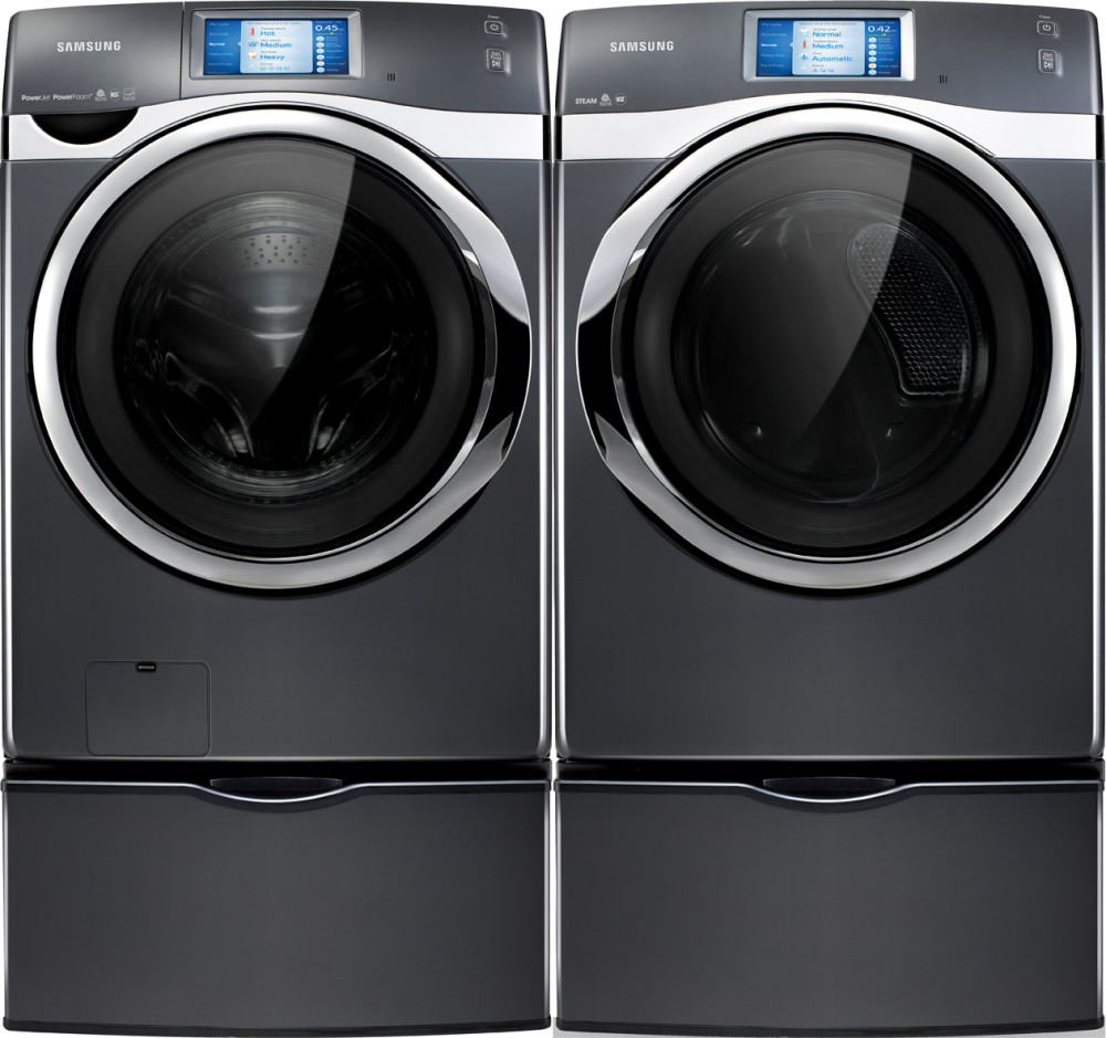 Samsung Wf457argsgr 27 Inch Front Load Washer With 4 5 Cu Ft Capacity 21 Wash Cycles 13 Options Powerfoam Steam Washing Smartphone Control