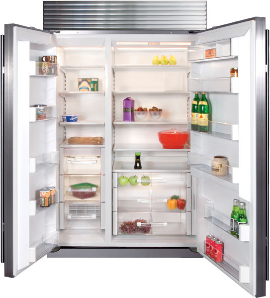 sub zero bi48sid 48 inch built in side by side refrigerator with 18 6 cu ft capacity dual. Black Bedroom Furniture Sets. Home Design Ideas