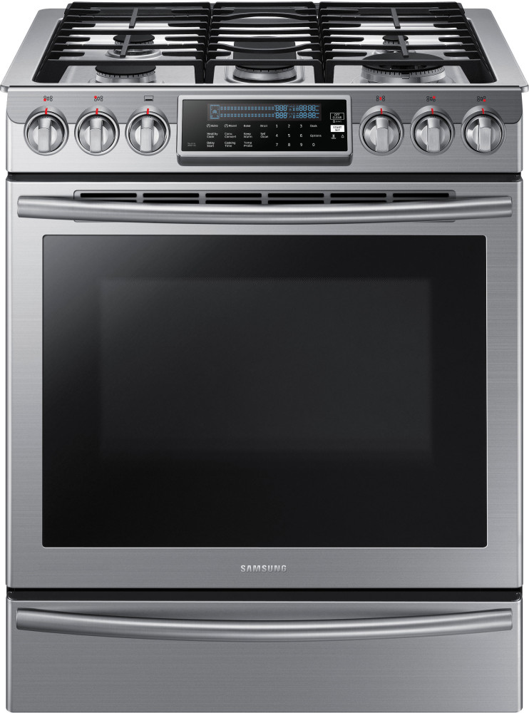 samsung nx58h9500ws 30 inch slide in gas range with 5 8 cu ft oven true convection 5 sealed. Black Bedroom Furniture Sets. Home Design Ideas