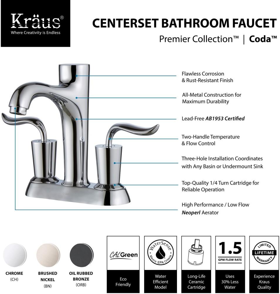 Kraus FUS13802CH Double Handle Cast Spout Centerset