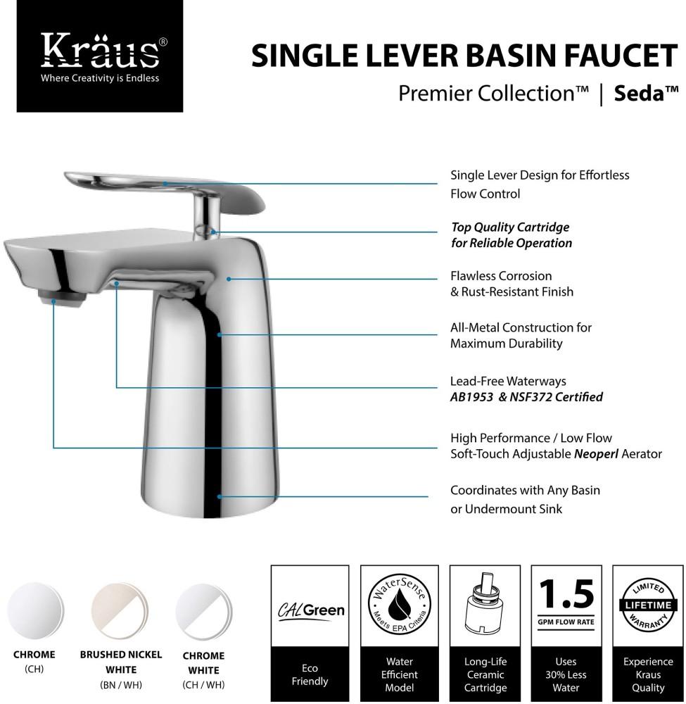 Kraus Fus1821ch Single Handle Cast Spout Bathroom Faucet With 5 Inch Spout Reach 7 Inch Overall