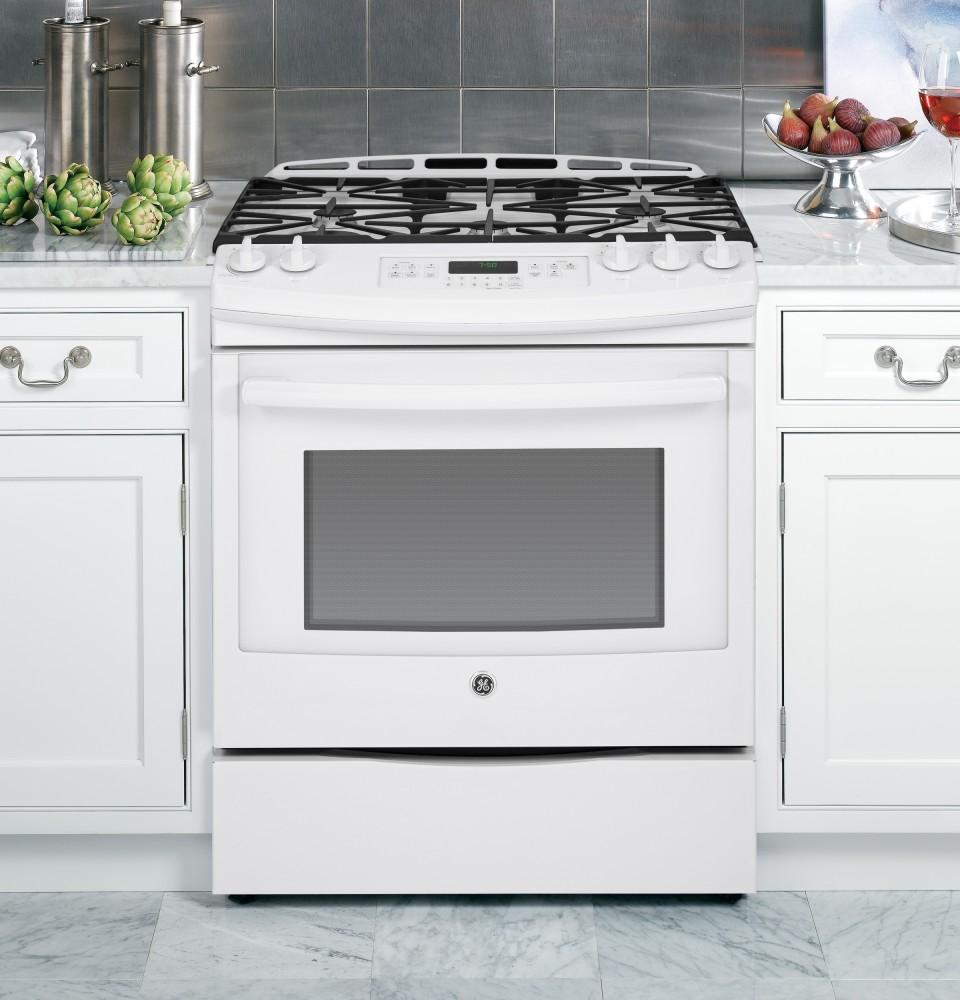 ge jgs750defww 30 inch slide in gas range with 5 sealed burners 5 6 cu ft convection oven. Black Bedroom Furniture Sets. Home Design Ideas