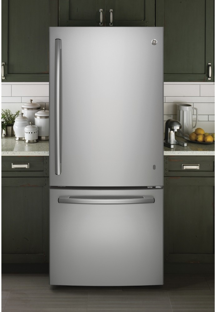 Stainless Steel Door >> GE GBE21DSKSS 30 Inch Bottom Freezer Refrigerator with 20.9 cu. ft. Capacity, LED Lighting, 2 ...