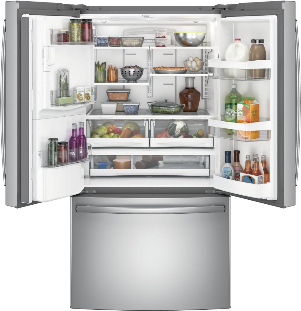 ge gfe26gskss 36 inch french door refrigerator with 25 8 cu ft capacity 4 adjustable glass. Black Bedroom Furniture Sets. Home Design Ideas