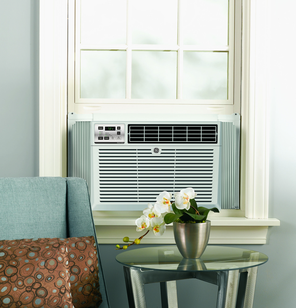 Ge aem12av 12 050 btu room air conditioner with 290 cfm 12 1 eer 3 4 pts hr dehumidification - Bedroom air conditioner ...