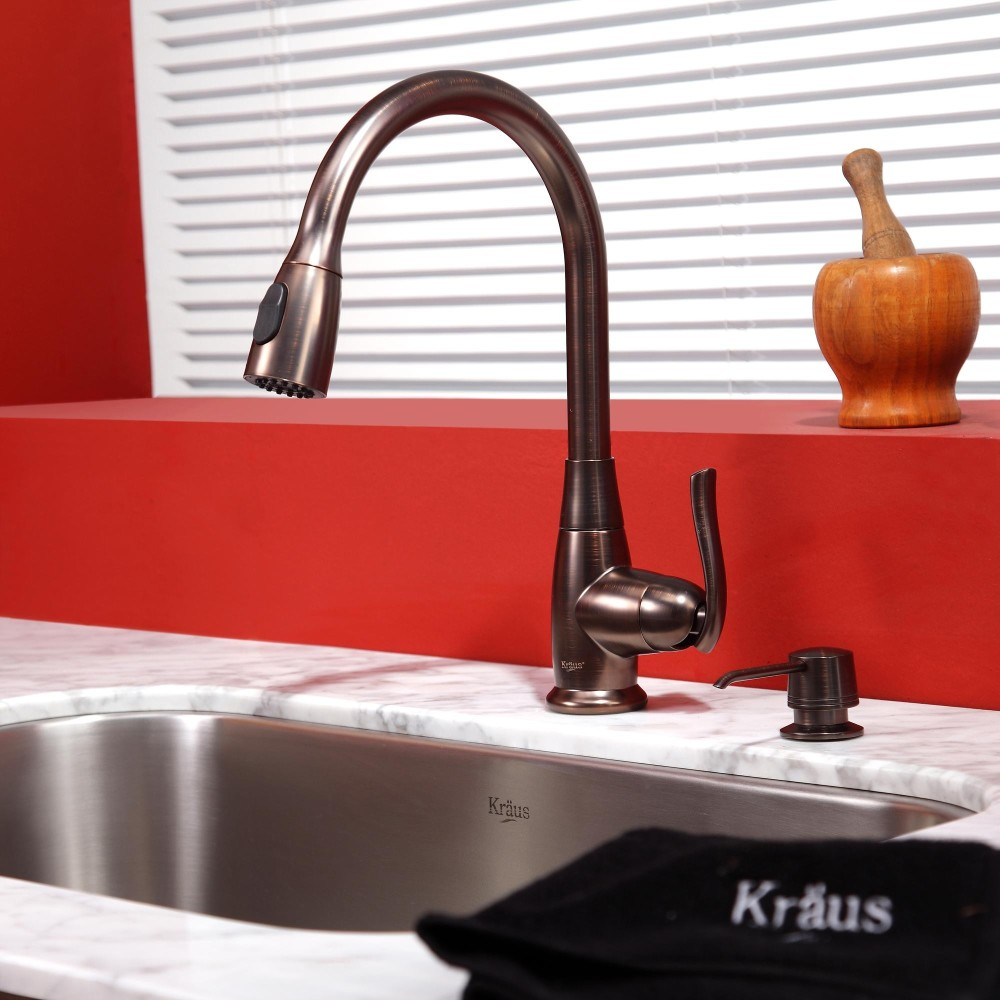 Kraus kbu14kpf2230ksd30orb 31 1 2 inch undermount single for Oiled bronze faucet with stainless steel sink